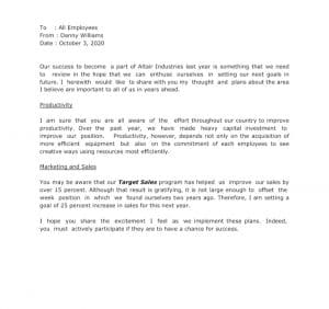 A Circular Letter Announcing A New Company Plan