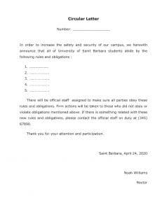 School Circular Letter